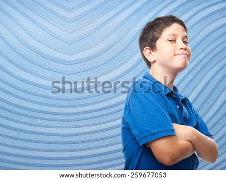 confident boy with striped background - stock photo