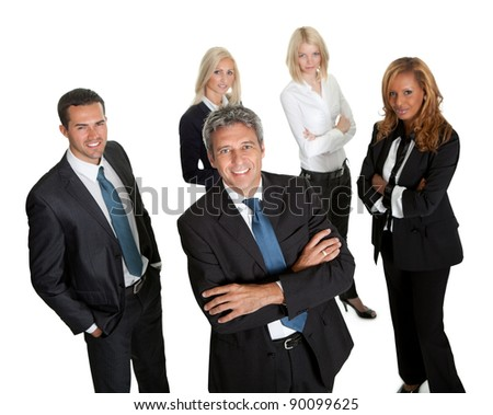 Confident business leader with his team in background on white - stock photo