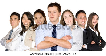 confident business man and his business team - group formed of people from all over the world - isolated - stock photo