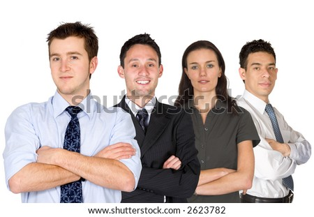 confident business man and his business team - group formed of people from all over the world over a nice blue sky - stock photo
