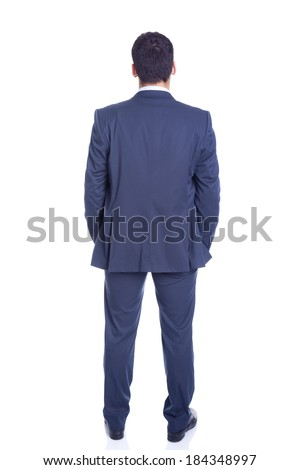 Confident business man from the back, isolated on white - stock photo