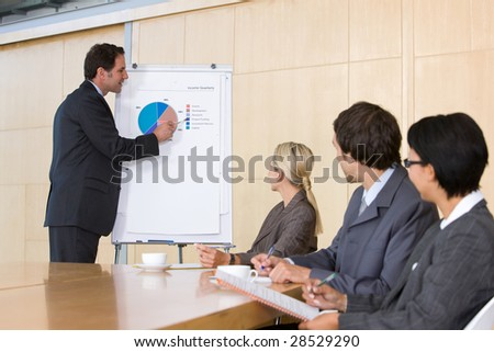 confident business man giving presentation to colleagues - stock photo
