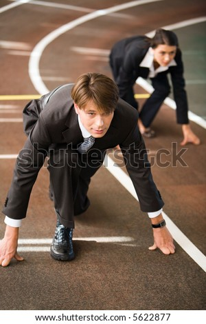 Confident business people are starting a race - stock photo