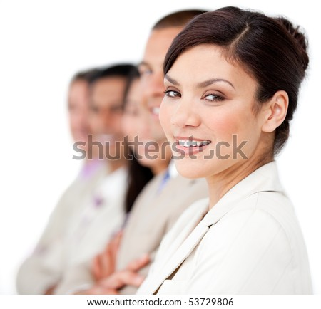 Confident business people standing in a line against a white background - stock photo