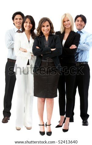 Confident business team smiling isolated over a white background - stock photo