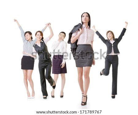 Confident business woman lead her excited team, full length portrait of group people isolated on white background. - stock photo