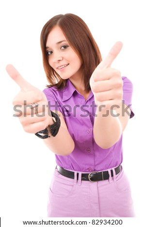 Confident business woman showing thumbs up, isolated on white background - stock photo