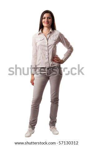 Confident business woman standing wearing casual clothes, isolated on white background - stock photo