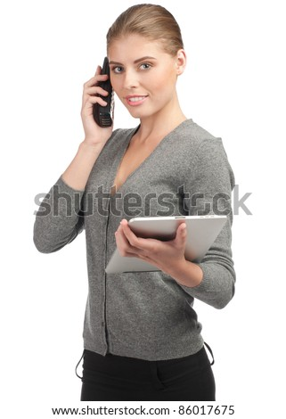 Confident business woman talking on telephone and using tablet computer. Isolated on white background - stock photo