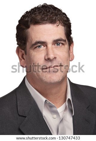 Confident businessman headshot serious expression - stock photo
