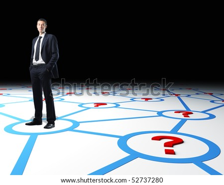 confident businessman standing on 3d virtual connection web - stock photo