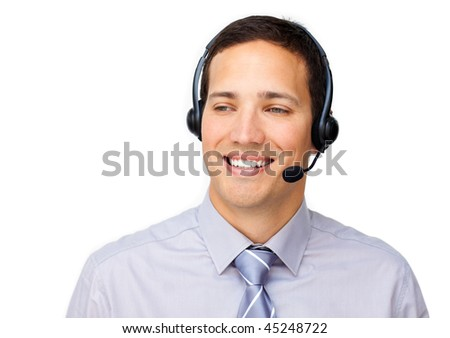 Confident businessman using headset against a white background - stock photo