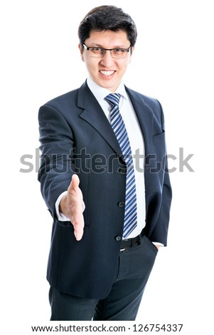 Confident businessman welcomes you on white background - stock photo