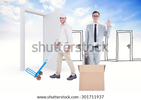 Confident delivery man pushing empty trolley against doodle doors in clouds - stock photo