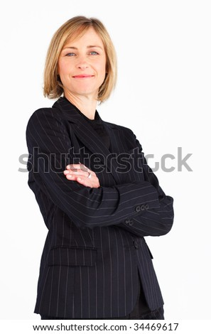 Confident female businessmanager with folded arms - stock photo