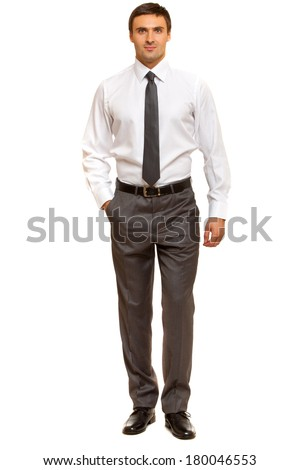 Confident, friendly businessman looking to the camera. Man in shirt with tie. Isolated on white background - stock photo