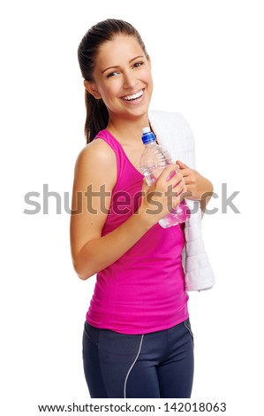 confident gym woman with water bottle smiling isolated on white - stock photo