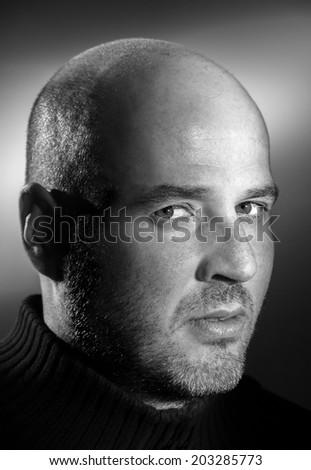 Confident handsome man close up portrait black and white  - stock photo