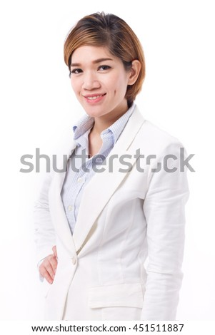 confident happy smiling business woman, studio isolated of asian woman model. - stock photo