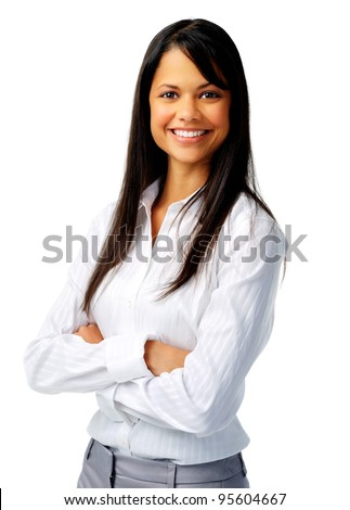 Confident hispanic woman in white blouse, isolated on white - stock photo