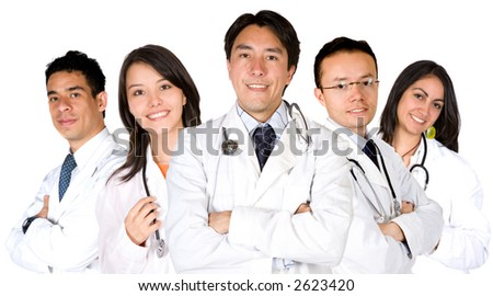confident male and female doctor team over a white background - focus on the middle doctor - stock photo