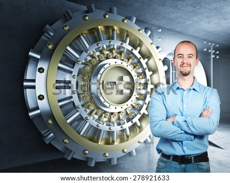 confident man and 3d bank vault background - stock photo