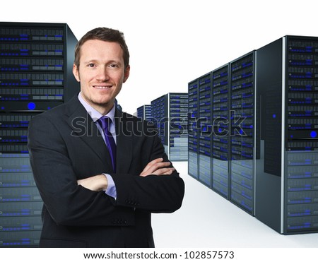 confident man crossed arms and server 3d - stock photo