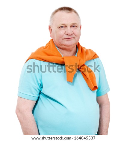 Confident middle aged man with draped over his shoulders orange pullover isolated on white background - stock photo
