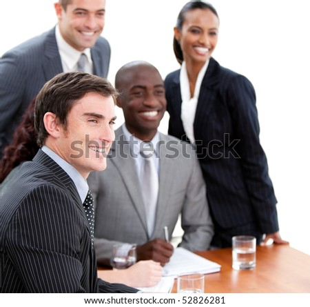 Confident multi-ethnic business people in a meeting. Business concept. - stock photo