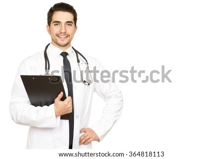Confident professional. An attractive young doctor smiling with confidence against white background  - stock photo