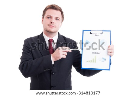 Confident sales manager showing chartpie or marketing results chart on a clipboard - stock photo