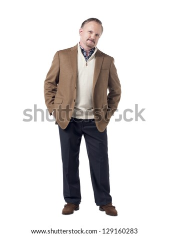 Confident senior businessman with hands on his pocket and standing on a white background - stock photo