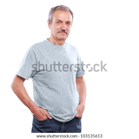 confident senior man isolated on white - stock photo