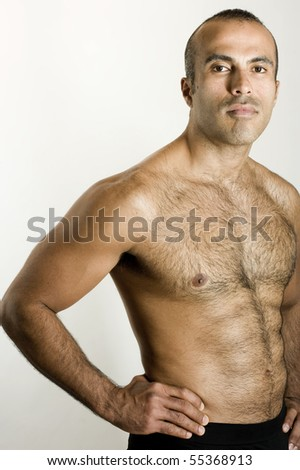 Confident Shirtless hispanic man - stock photo