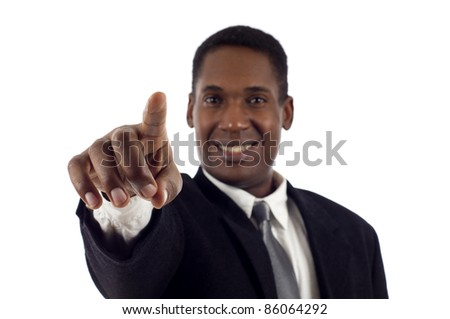 Confident smiling African American Business Man touching an imaginary screen isolated white background - stock photo