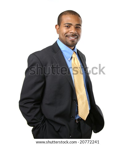 Confident smiling African American businessman isolated over white background - stock photo