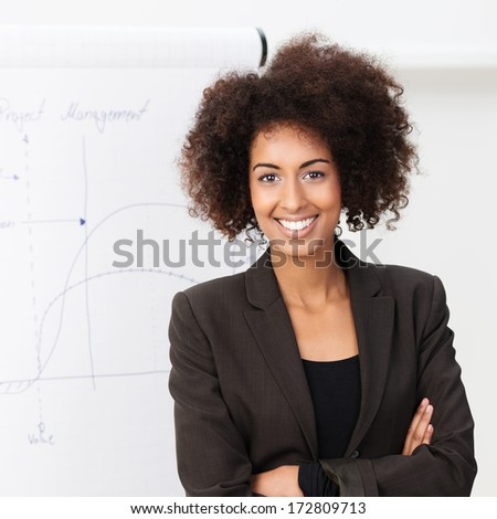 Confident smiling African American woman with a wild afro hairstyle standing with folded arms looking at the camera with a friendly smile - stock photo