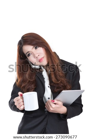 confident , smiling young busy business woman , concept multi task with phone , cup of coffee and computer tablet - stock photo