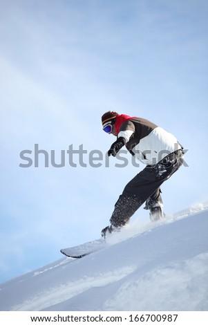 Confident snowboarder - stock photo