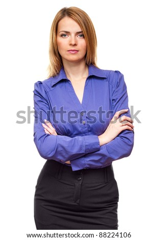Confident successful business woman student manager standing in studio - stock photo