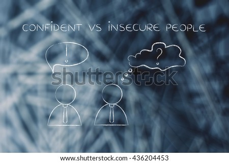 confident vs insecure people: man acting convinced and another person being doubtful, business men icons version - stock photo