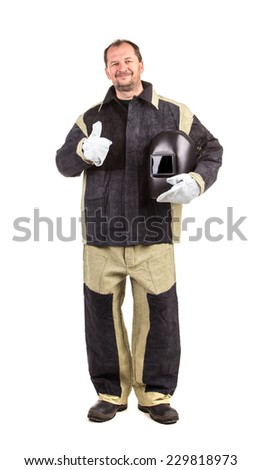 Confident welder with arms on waist. Located on a white background. - stock photo