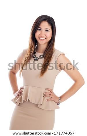 Confident young Asian businesswoman with hands on hips portrait isolated on a white background - stock photo