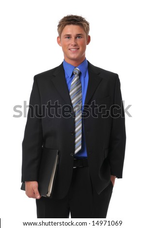 Confident young businessman holding a folder isolated on white - stock photo