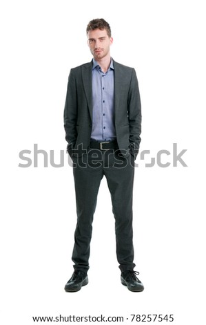 Confident young businessman looking at camera isolated on white background - stock photo