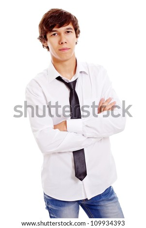 Confident young man in white shirt with black tie and crossed arms on chest. Isolated on white background, mask included - stock photo