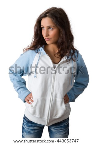Confident young woman with natural charm posing against a white background - stock photo