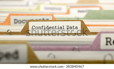 Confidential Data Concept. Colored Document Folders Sorted for Catalog. Closeup View. Selective Focus. 3D Render. - stock photo