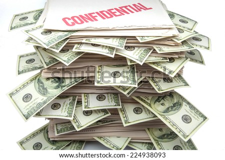 confidential documents with notes of one hundred dollars - stock photo