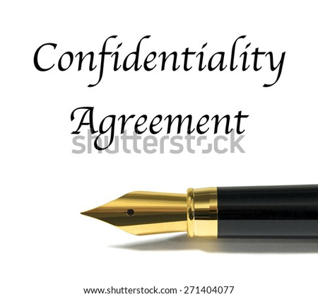 Confidentiality agreement with golden fountain pen - stock photo